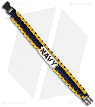 Single Tied Paracord Survival Bracelet w/ Navy Plate (Blue & Yellow)