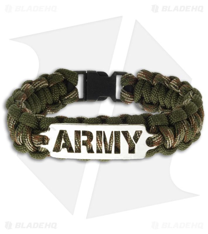 Single Tied Paracord Survival Bracelet W Army Plate Light Camo