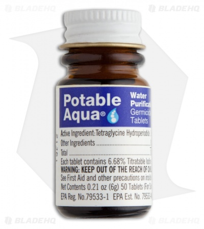 Potable Aqua Drinking Water Germicidal Tablets (50 tablets treat up to 25 q)