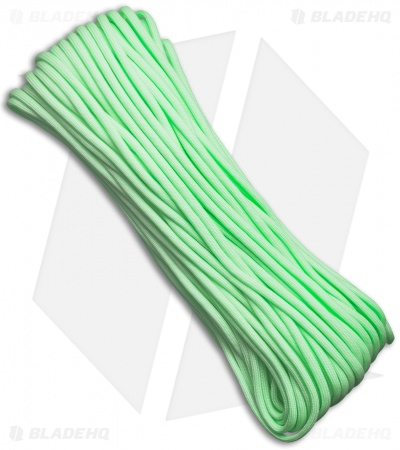 EL Wood Braid Paraglow Cord 7 Strand Core Light Green (100') USA