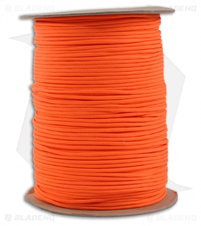 Spool of Orange 550 Paracord Nylon Braided 7-Strand Core (1000') USA