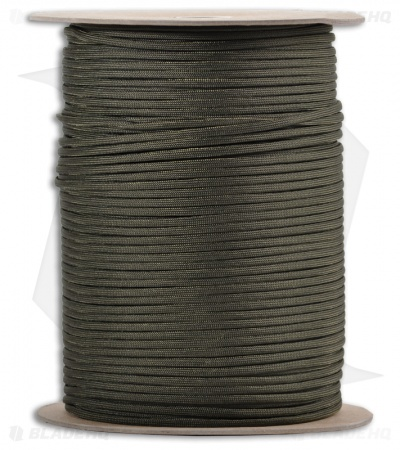 Spool of OD Green 550 Paracord Nylon Braided 7-Strand Core (1000') USA