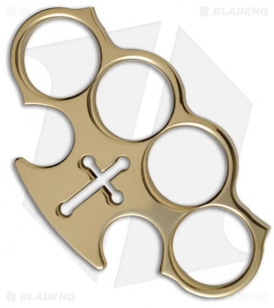 Woody Knuckles Peacekeeper Polished Brass Four Finger Knuckles w/ Cross