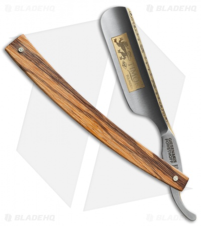 "Timor Lion Straight Razor Maple Wood Handle (6/8"" Carbon Steel) 382"