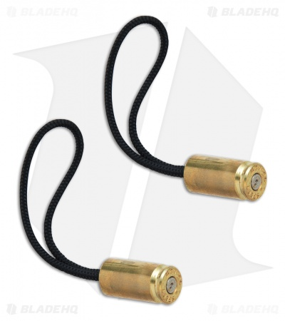 Hollow-Point Gear Brass Bullet .40 Caliber Knife Zipper Pulls (Set of 2)
