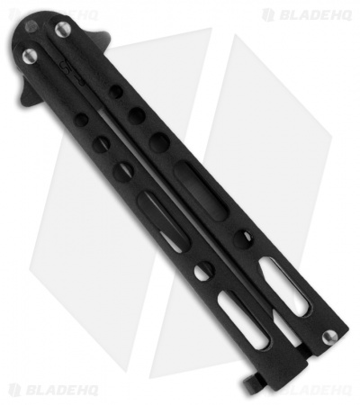 "Bear & Son 117 Large Butterfly Knife Black  (4"" Satin)"