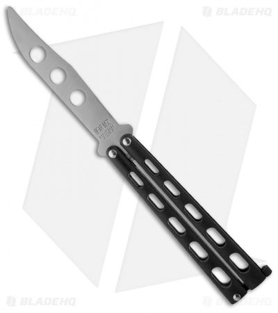 "Bear & Son 114BTR Butterfly Knife Trainer Black (4"" Dull Blade)"