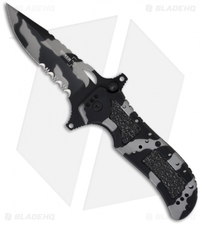 "Boker Plus Camo Defender Liner Lock Knife (3.375"" Gray Serr) 01BO119"