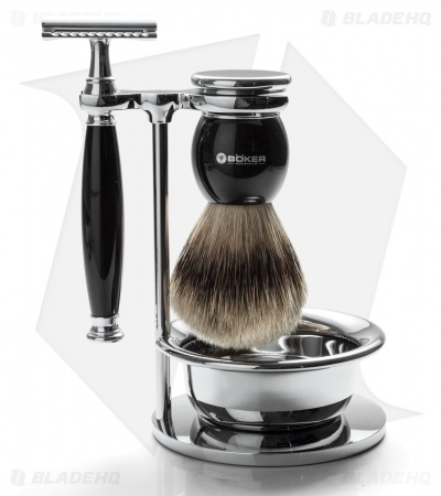Boker Nickle-Plated Shaving Set w/ Razor, Badger Brush, Stand & Cream Bowl