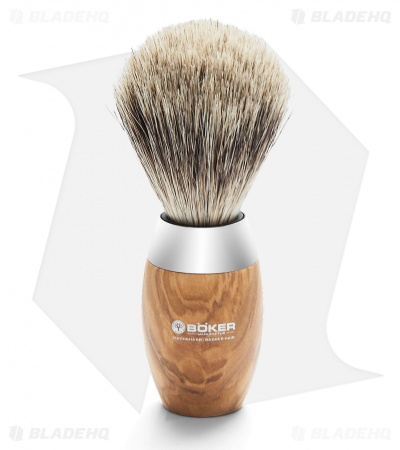 Boker Badger Hair Shaving Brush w/ Olive Wood Handle