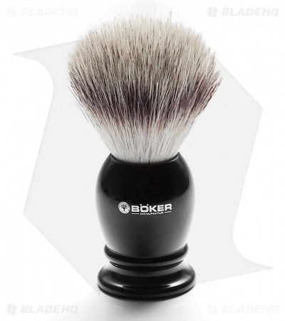 Boker Silvertip Fiber Shaving Brush w/ Black Bulbous Handle
