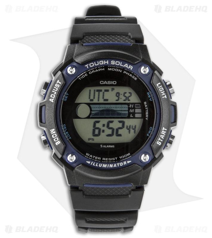 Casio fishing moon phase solar power watch w s210h 1avcf for Casio fishing watch