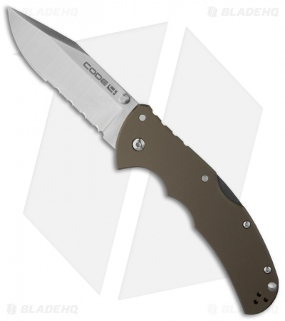 "Cold Steel Code-4 Clip Point Lockback Knife (3.5"" Satin Serr) 58TPCH"