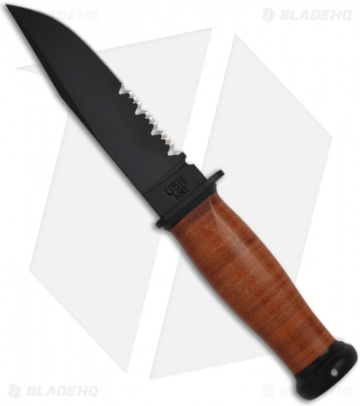 "Ka-Bar Mark I Knife w/ Leather Handle (5.125"" Black Serr) 02-2226"