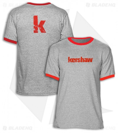 Kershaw Heather Gray Ringer T-Shirt  (Red Kershaw Logo)