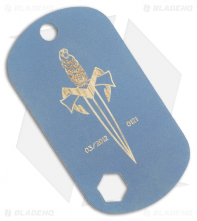 Microtech Knives Marfione Dog Tag w/ Dagger Logo (Blue Anodized)