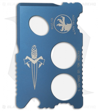 Microtech Assailant Credit Card Knife Blue Anodized Titanium & Bi-Fold Wallet