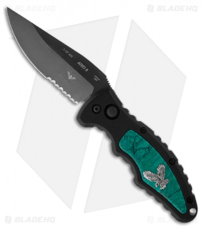 "Asheville Steel Paragon PARA-8 Turquoise Automatic Knife (3.5"" Mirror DLC Serr)"