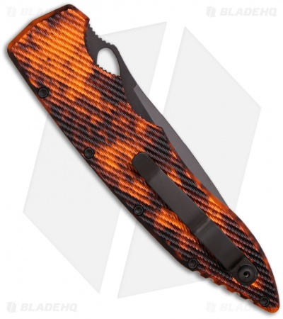 "Piranha Predator Orange Tactical Automatic Knife (4.1"" Black Serr)"
