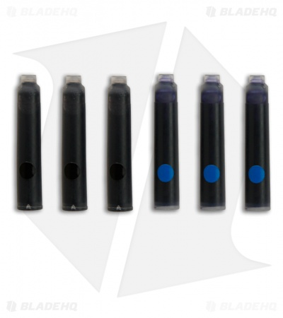 Replacement Schrade Fountain Pen Ink Cartridge (Black & Blue)