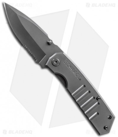 "Schrade Drop Point Frame Lock Knife (3.7"" Gray Serr) SCH304S"