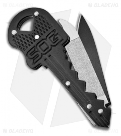 "SOG Double Key Tool Knife and File (1.50"" Black Plain) KEY401CP-1397"
