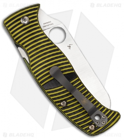 "Spyderco Caribbean Sheepsfoot Knife Black/Yellow G-10 (3.7"" Satin) C217GPSF"