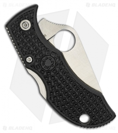 "Spyderco ManBug Lightweight Black FRN Pocket Knife (2"" Satin Full Serr) MBKS"