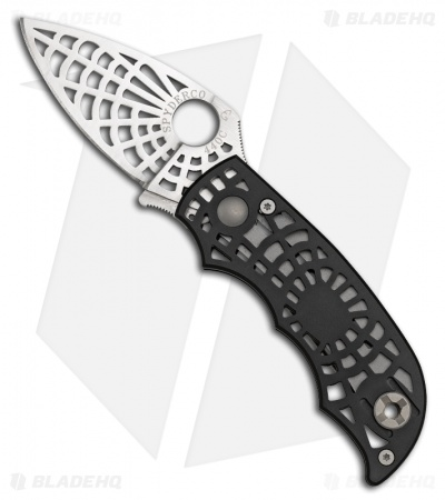 "Spyderco ""S"" Black Folding Knife (Satin Plain) C109BKP"