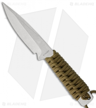 "Strider WP Drop Point Knife Fixed Blade w/ Coyote Brown Wrap (4"" Stonewash)"