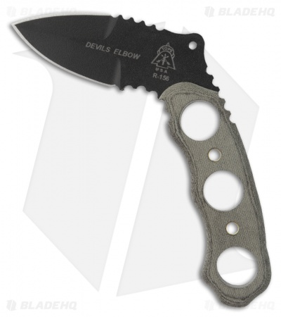 "TOPS Knives Devil's Elbow XL Knife Fixed Blade (2.13"" Black Plain) DEV-01"