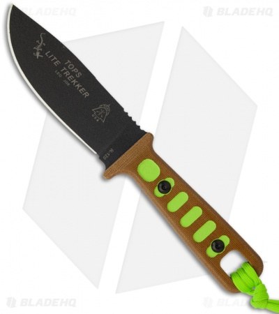"TOPS Knives Lite Trekker Tan/Green Fixed Blade Knife (4.25"" Black Plain) TLT-01"