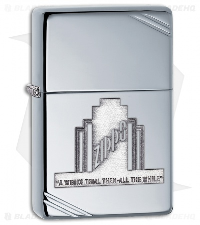 Zippo Lighter Polished Chrome A Weeks Trial 28451