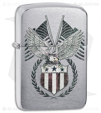 Zippo Lighter Brushed Chrome American Eagle 11468