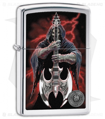 Zippo Lighter Polished Chrome Anne Stokes Guitar 11508