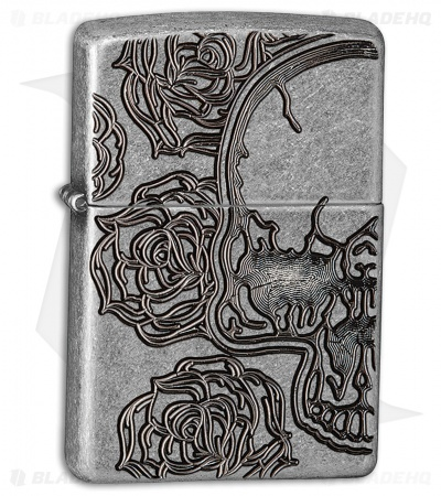 Zippo Lighter Antique Silver Skull & Roses 28988