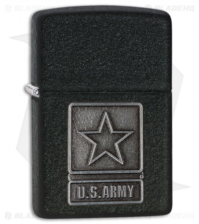 Zippo Lighter Black Crackle U.S. Army 28583