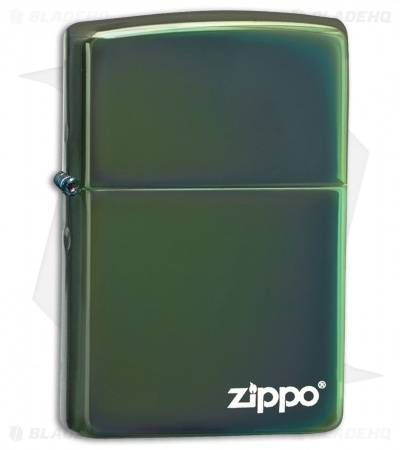 Zippo Lighter Dark Green Chameleon with Logo 17901
