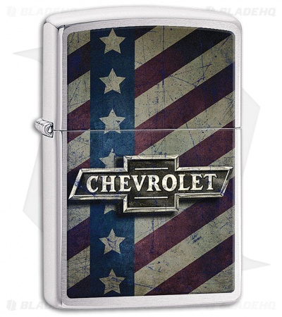 Zippo Lighter Polished Chrome Chevy Flag 11608