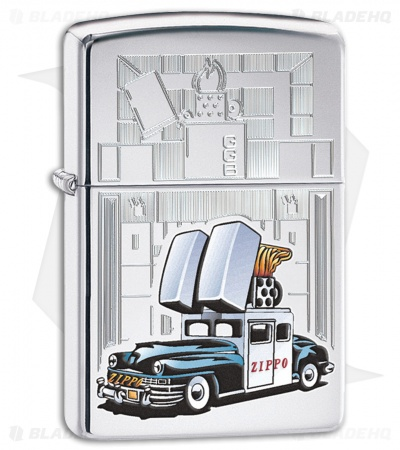 Zippo Lighter Polished Chrome Car and Building 28507