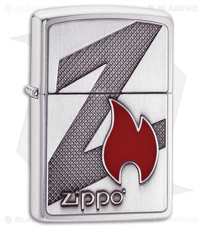 Zippo Lighter Brushed Chrome Z Flame 11487