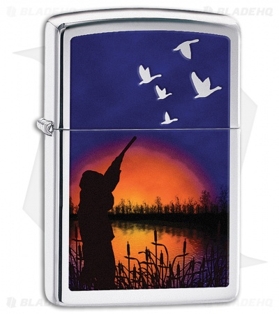Zippo Lighter Polished Chrome Duck Hunting 11434