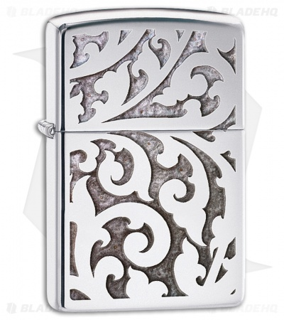 Zippo Lighter Polished Chrome Filigree 28530
