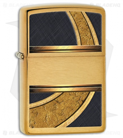 Zippo Lighter Brushed Brass Gold And Black 28673
