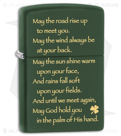 Zippo Lighter Matte Green Irish Blessing 28479