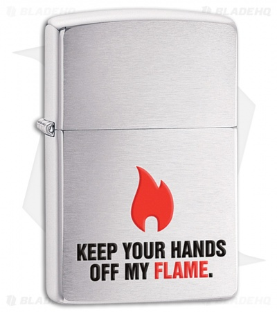 Zippo Lighter Brushed Chrome Keep Your Hands Off 28649