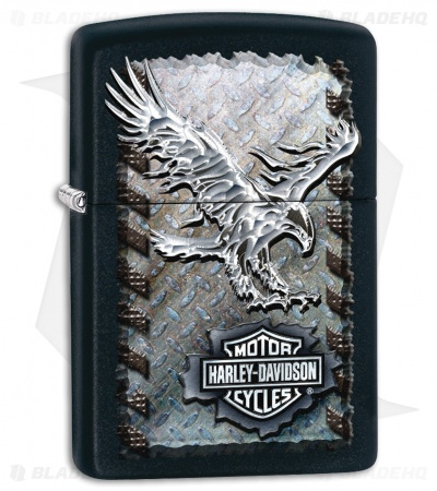 Zippo Lighter Black Matte Harley-Davidson Iron Eagle 28485