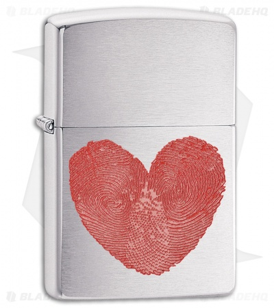 Zippo Lighter Brushed Chrome Heart Thumbprints 11413