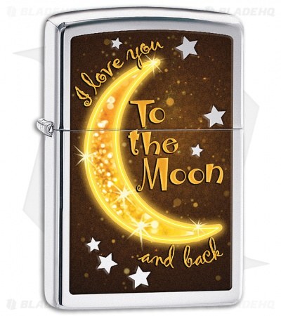 Zippo Lighter Polished Chrome Love You To The Moon 11405