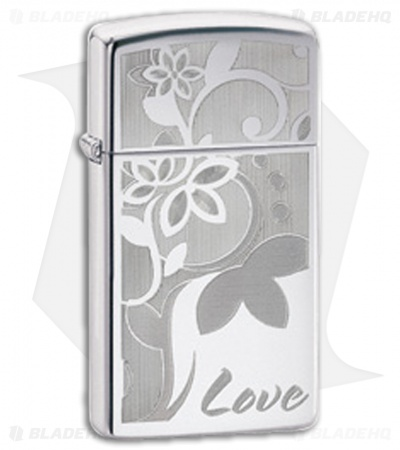 Zippo Lighter Polished Chrome Love Flower Slim 24816